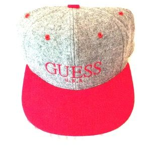 Brand new GUESS 6 panel gray wool hat w/Red Bill